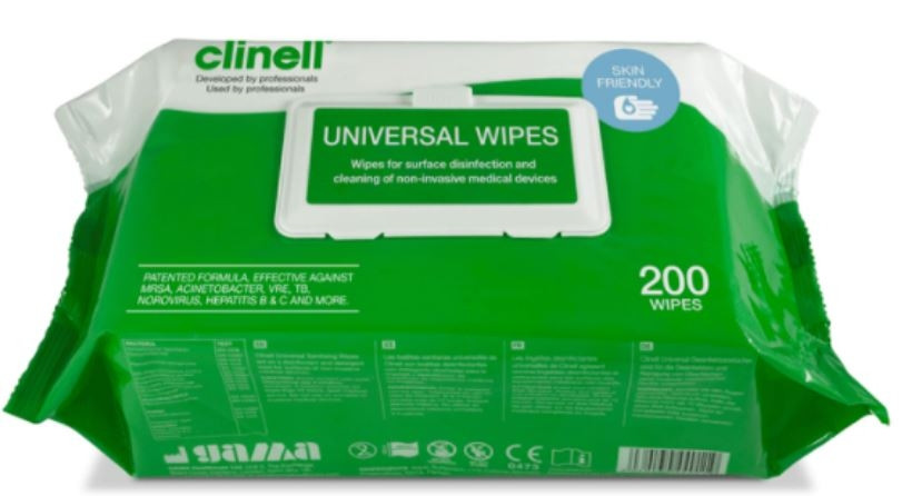 Clinell Universal Sanitising Wipes Pack 200  x 200mm x 280mm