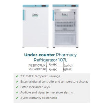 PEGR107UK 107L Glass Door Control Plus Pharmacy Fridge