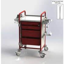Emergency Trolley / Crash Cart Vista 50 RED with IV Pole