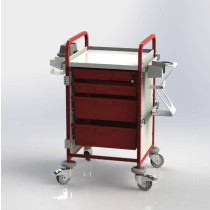 Emergency Trolley / Crash Cart Vista 50 RED without IV Pole