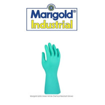 Marigold G25G Green Nitrile Rubber Chemical Resistent Gloves (Medium 7.5) x 1 pair