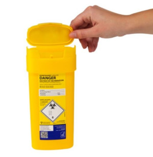 Sharpsguard 0.6L Sharps Bin x 1 yellow lid