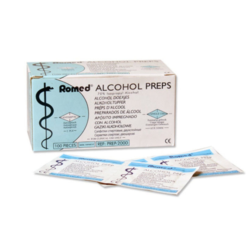 Romed Alcohol Swabs 65x30mm x 100 (100 Swabs x 1 Box)