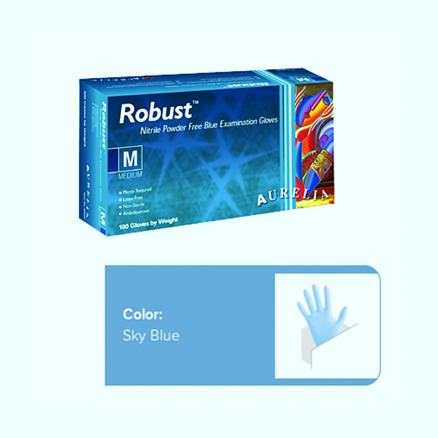 Robust (AURELIA) Nitrile NS PF-blue-Gloves (Small x 100)