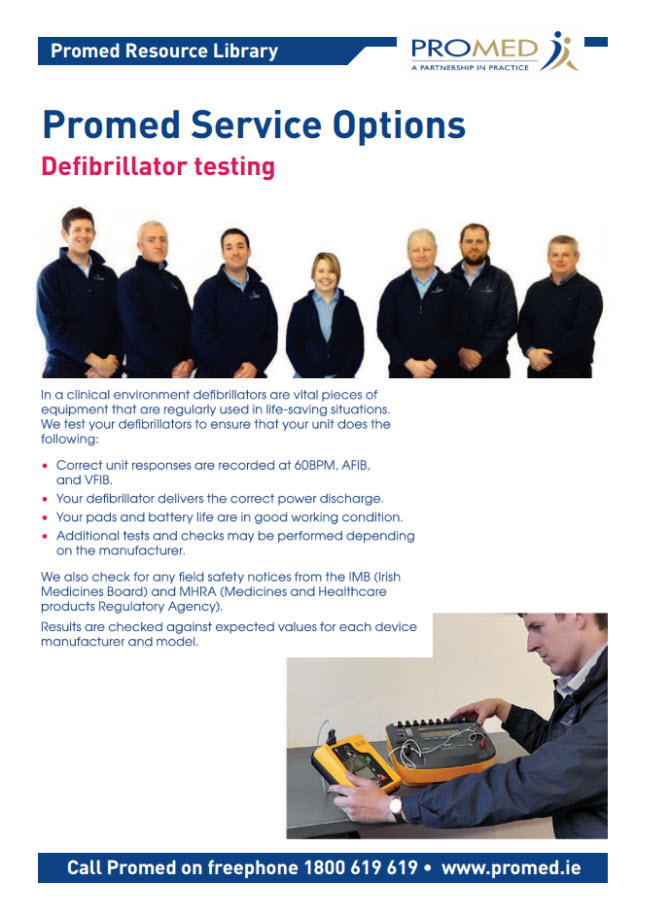 DEFIBRILLATOR SERVICING OPTIONS