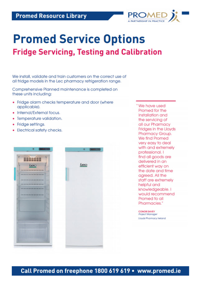 Fridge Servicing, Testing and Calibration options