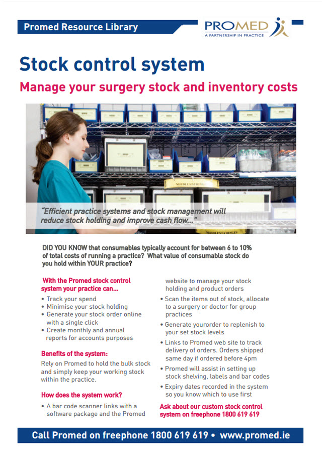 Manage your surgery stock and inventory costs with the Promed Stock Control system