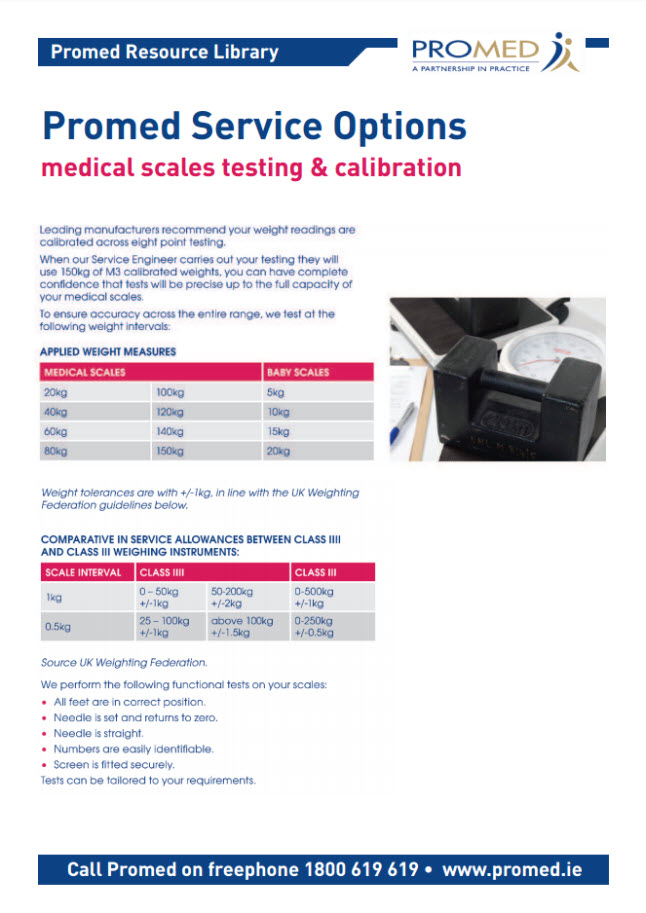 Medical Scales Testing and Calibration options