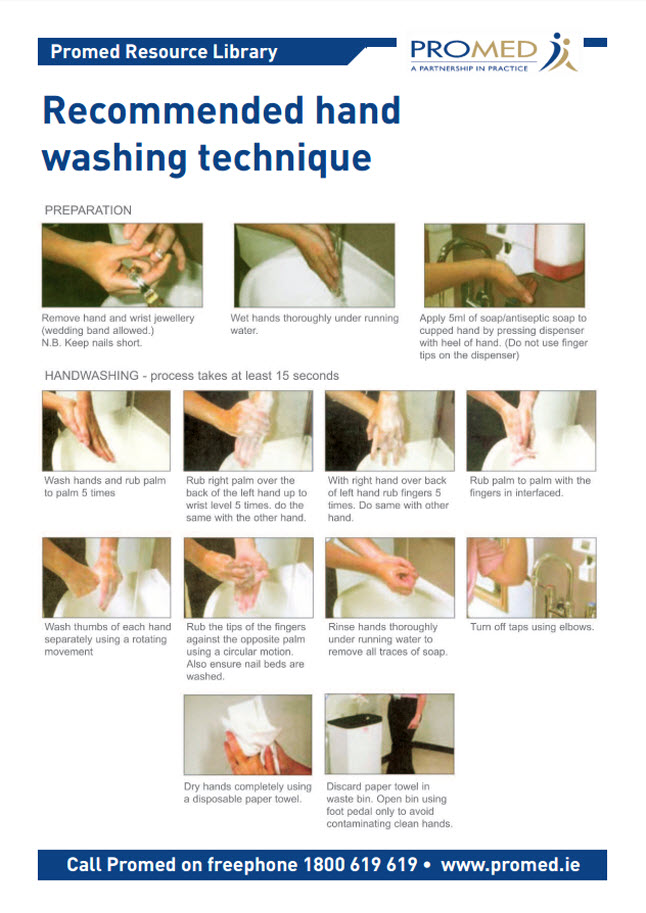 Recommended Hand washing technique