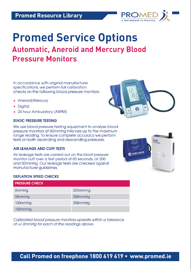 Servicing of Blood Pressure Monitors